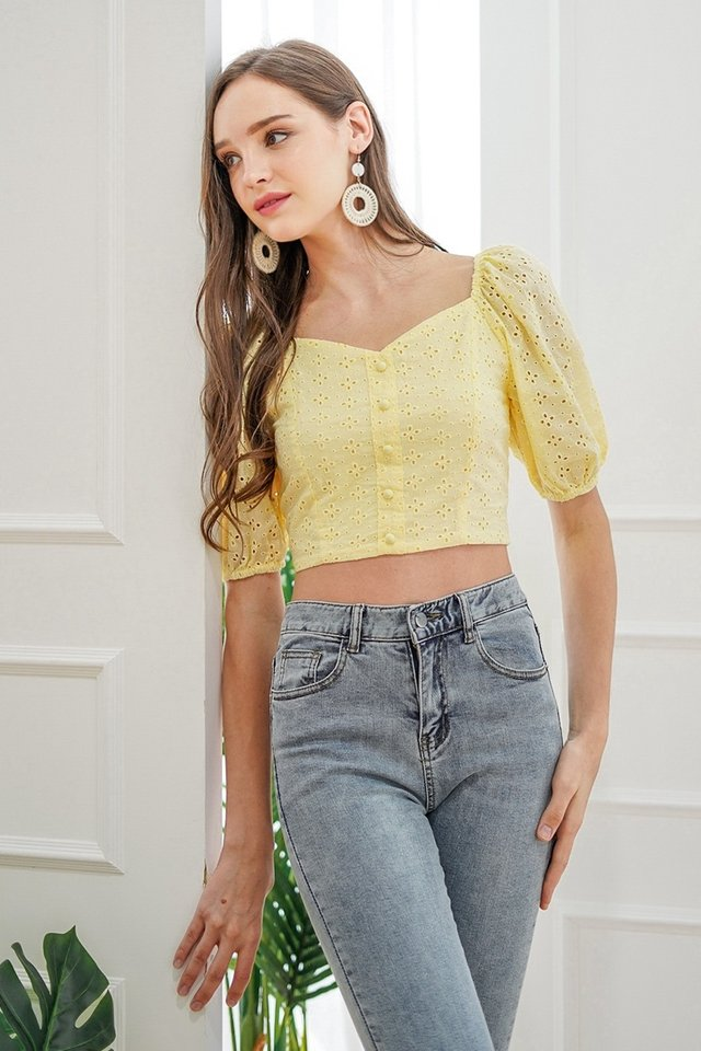SONIA BUTTON EYELET TOP #MADEBYLOVET (DAFFODIL YELLOW)