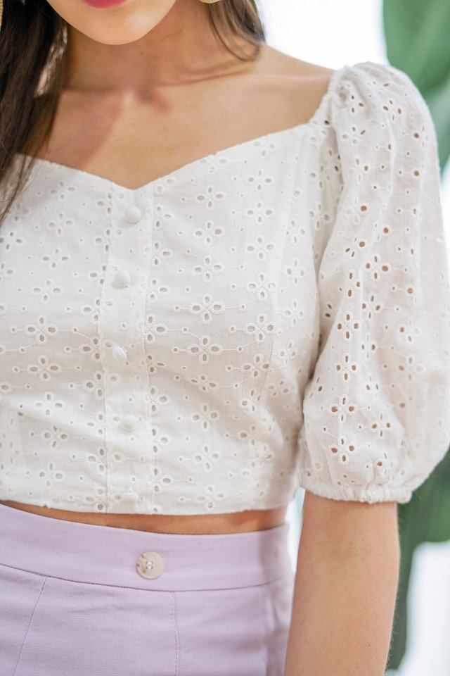 SONIA BUTTON EYELET TOP #MADEBYLOVET (WHITE)