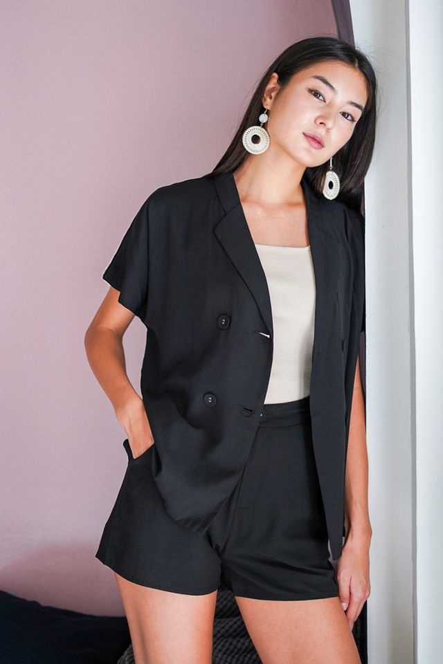 ASHTON 2 PIECE BLAZER THROWOVER SET #MADEBYLOVET (BLACK)