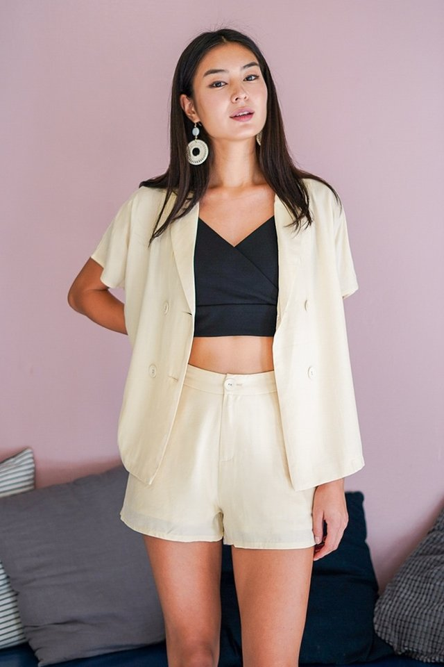 ASHTON 2 PIECE BLAZER THROWOVER SET #MADEBYLOVET (VANILLA CREAM)