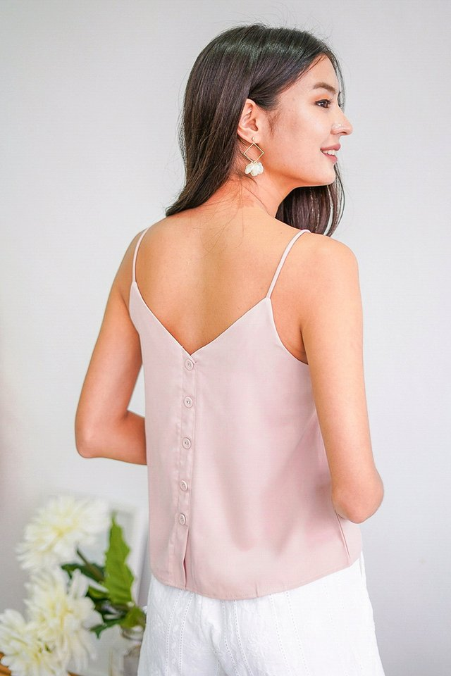 CALI 2 WAY BUTTON CAMI SPAG TOP #MADEBYLOVET (PASTEL PINK)