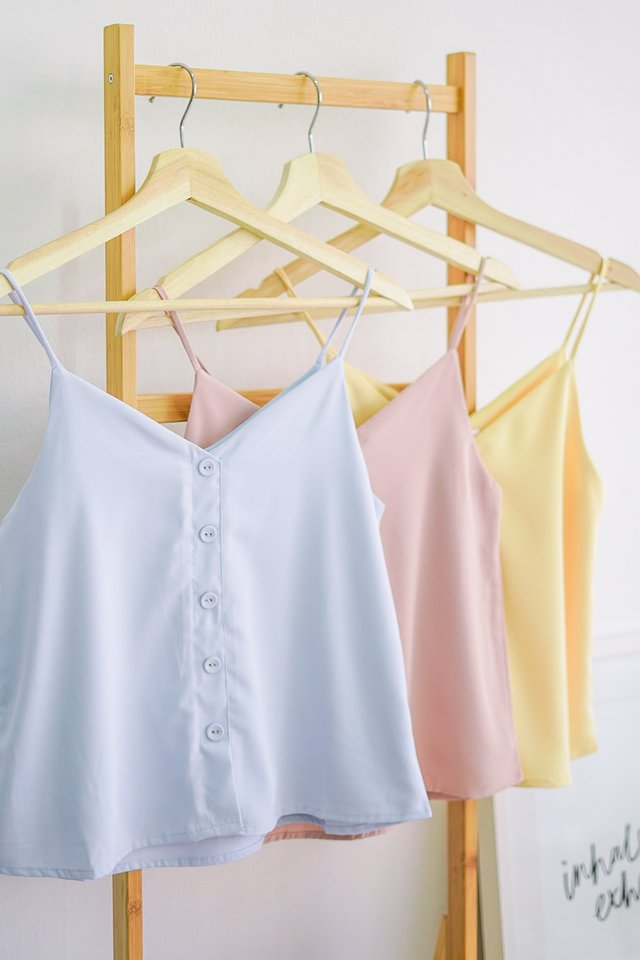 CALI 2 WAY BUTTON CAMI SPAG TOP #MADEBYLOVET (PERIWINKLE BLUE)