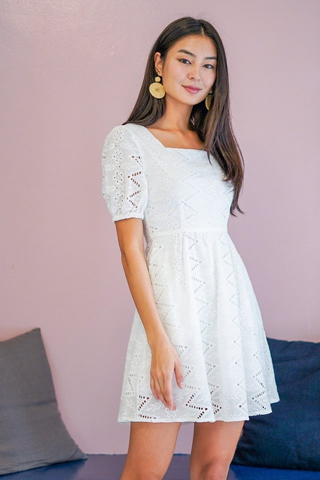 GRACELYNN EYELET BABYDOLL DRESS #MADEBYLOVET (WHITE)