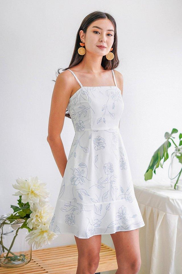 KYRENE ABSTRACT FLORAL DRESS #MADEBYLOVET (WHITE)