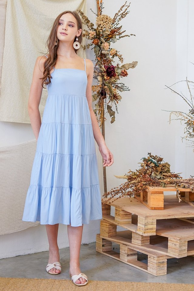 JOVELIA TIERED MIDI DRESS #MADEBYLOVET (POWDER BLUE)