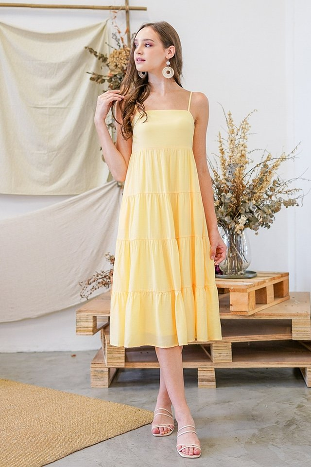 JOVELIA TIERED MIDI DRESS #MADEBYLOVET (MERINGUE YELLOW)