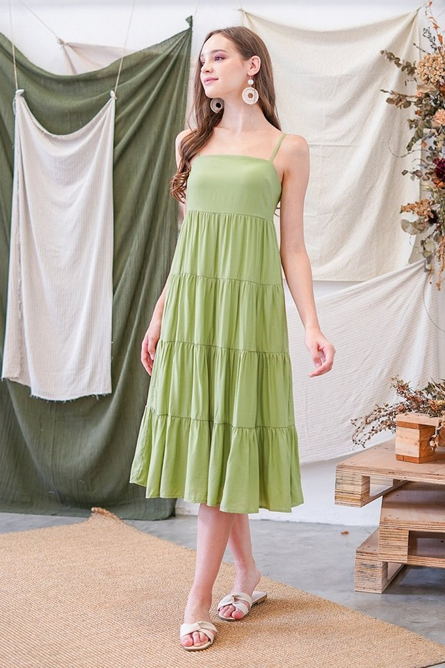 JOVELIA TIERED MIDI DRESS #MADEBYLOVET (AVOCADO GREEN)