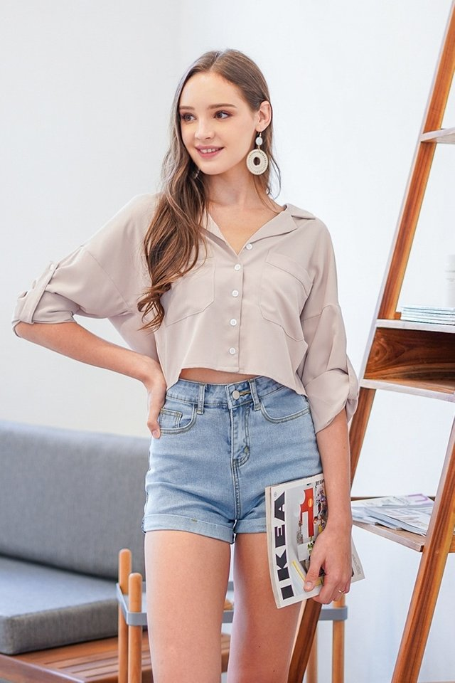 POLINA BUTTON SLOUCHY SHIRT #MADEBYLOVET (CHAMPAGNE BEIGE)