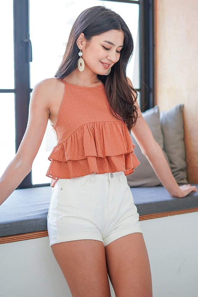 QUINCY EYELET HALTER NECK LAYER TOP #MADEBYLOVET (BURNT ORANGE)