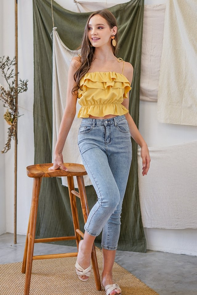 TAMMY TIE STRING RUFFLES TOP #MADEBYLOVET (HONEY MUSTARD)