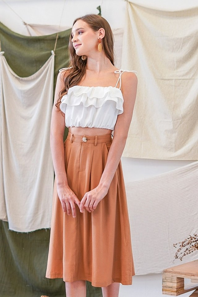 ZANDREA BASIC MIDI SKIRT #MADEBYLOVET (CAMEL BROWN)