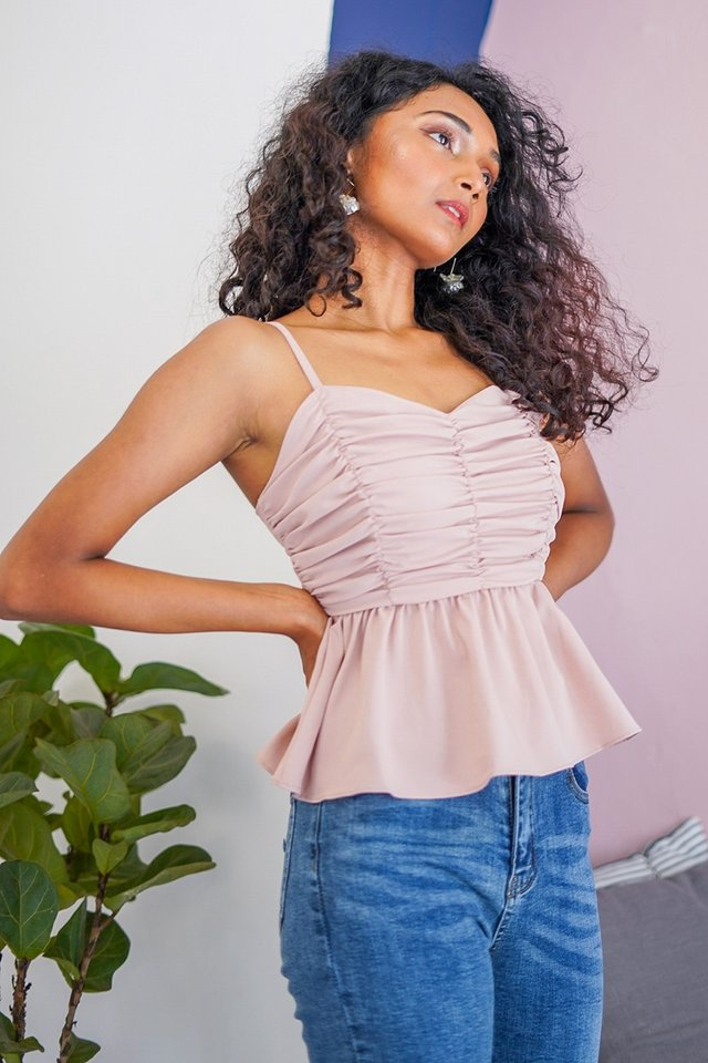 VENICE RUCHED PEPLUM TOP #MADEBYLOVET (BLUSH)