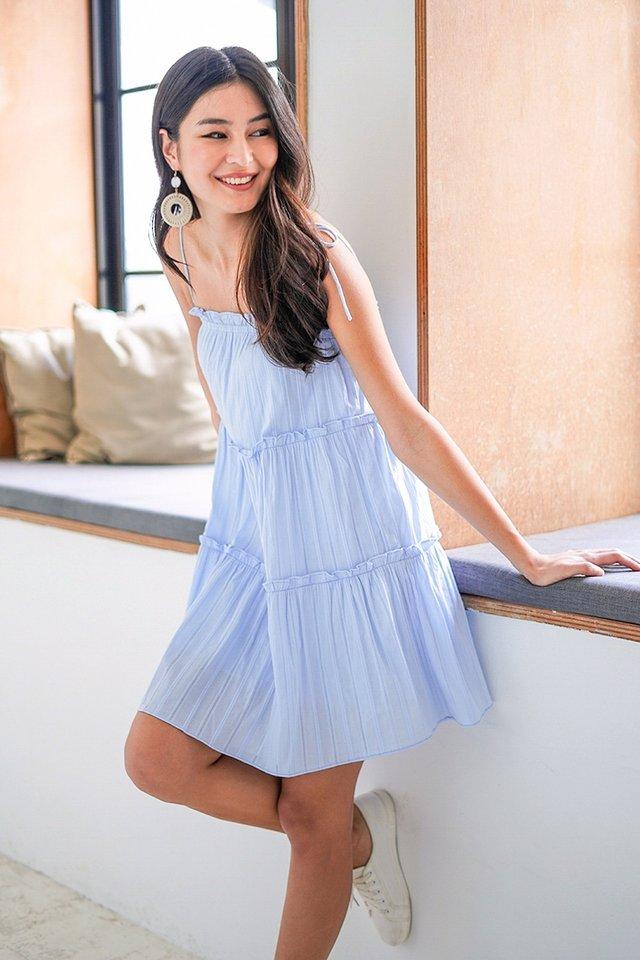 YUNA TEXTURED TIE-STRING TIERED DRESS #MADEBYLOVET (PASTEL BLUE)