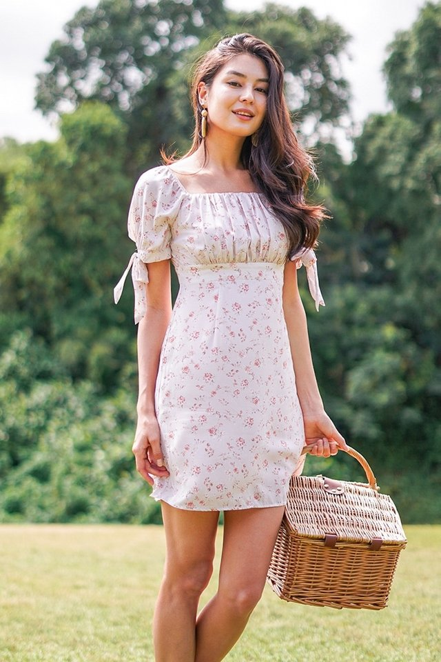 KRYSTAL 2-WAY FLORAL RUCHED DRESS #MADEBYLOVET (DUSTY PINK) *BACKORDER*