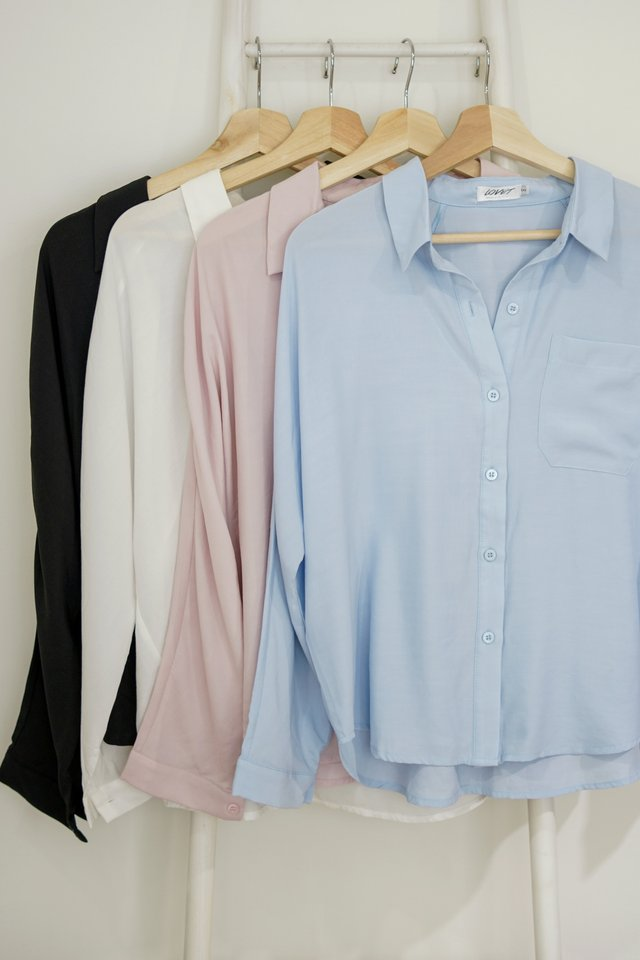 ABELE BUTTON SLOUCHY SHIRT #MADEBYLOVET (LIGHT BLUE)
