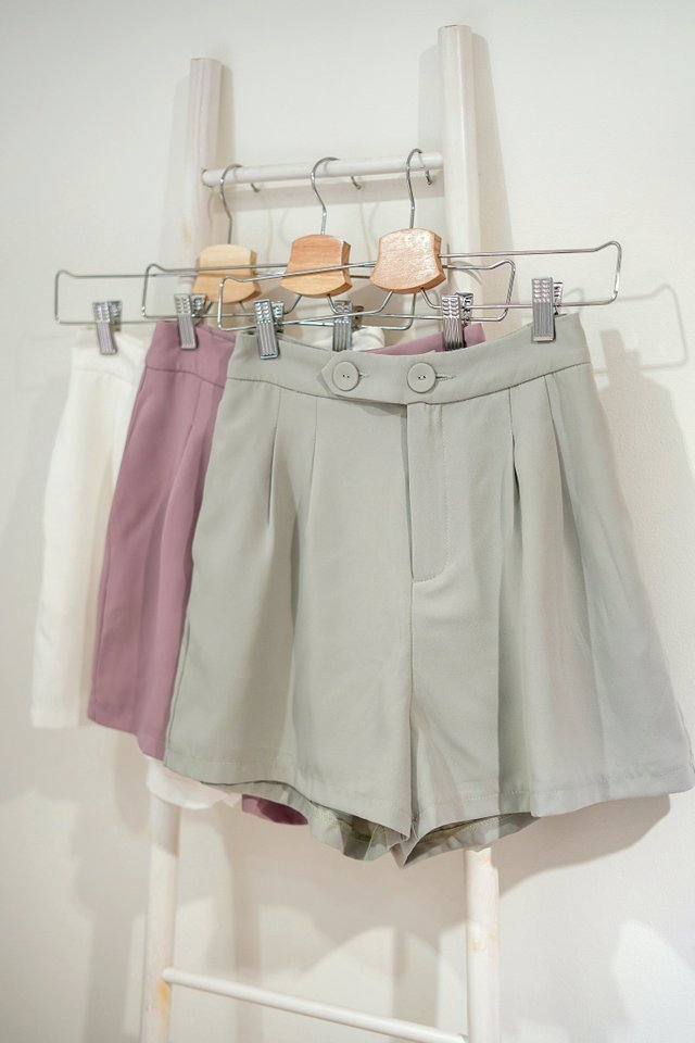 REIGN DOUBLE BUTTON HIGH WAIST SHORTS #MADEBYLOVET (SAGE) *BACKORDER*