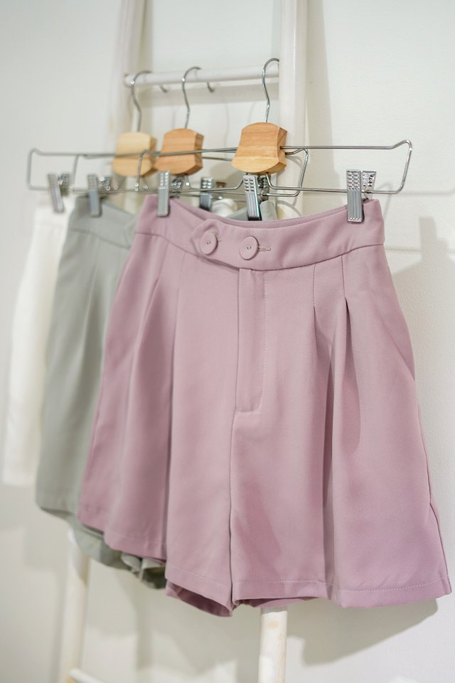 REIGN DOUBLE BUTTON HIGH WAIST SHORTS #MADEBYLOVET (DUSTY LAVENDER PINK)