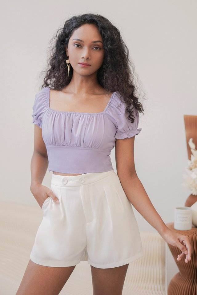 VANESS 2-WAY RUCHED CROP TOP #MADEBYLOVET (LILAC)