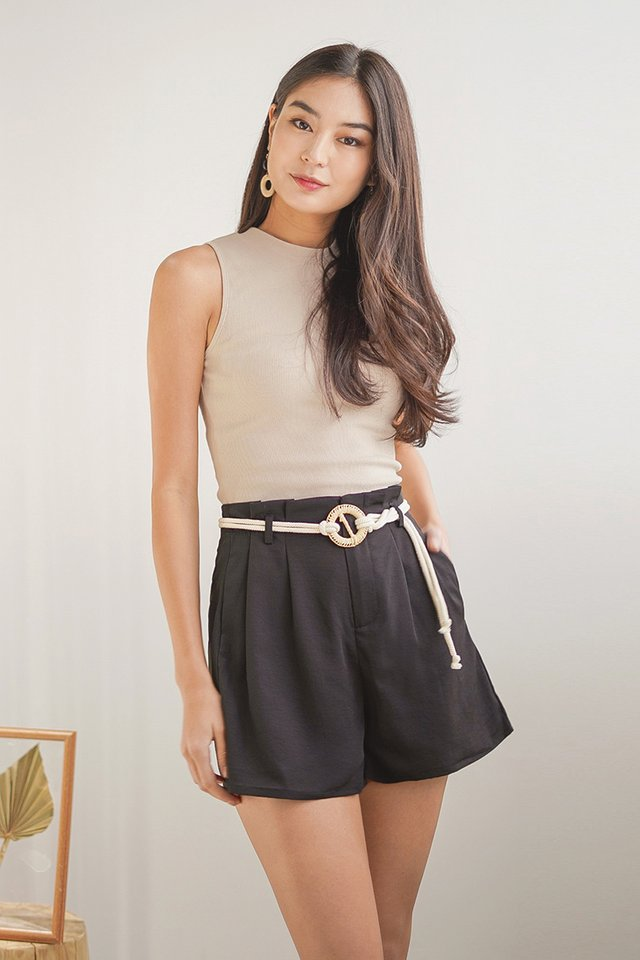 ZOEVE HIGH WAIST SHORTS WITH ROPE STRING #MADEBYLOVET (BLACK)
