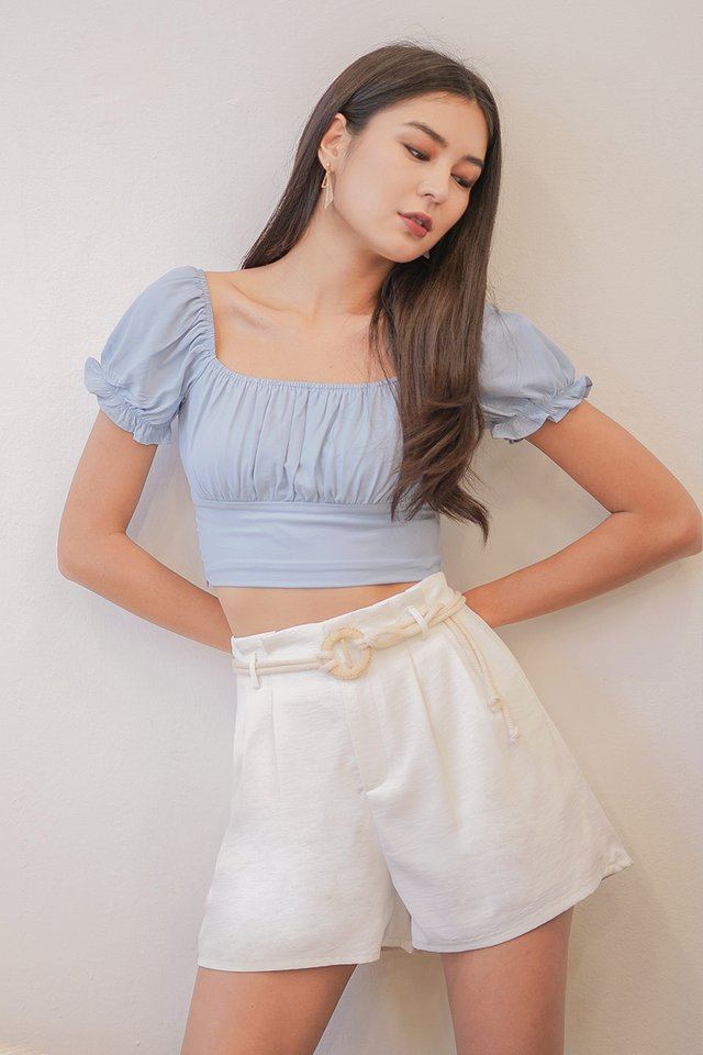 VANESS 2-WAY RUCHED CROP TOP #MADEBYLOVET (PASTEL BLUE)