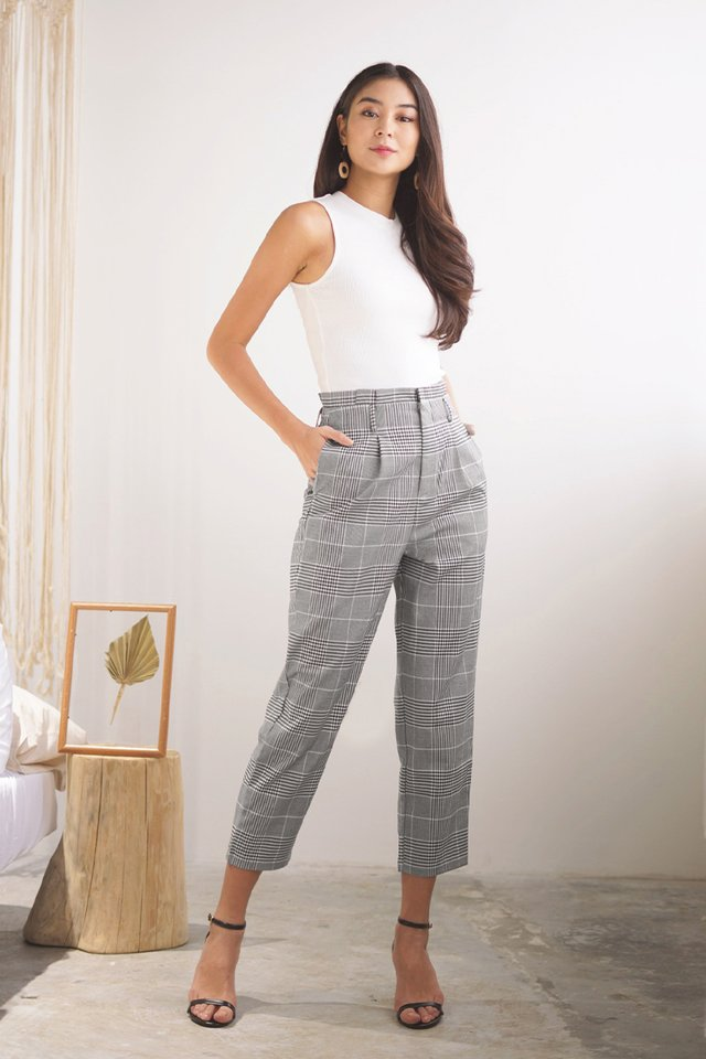 DALLAS HIGH WAIST TAILORED PAPERBAG PANTS #MADEBYLOVET (GINGHAM) *BACKORDER*
