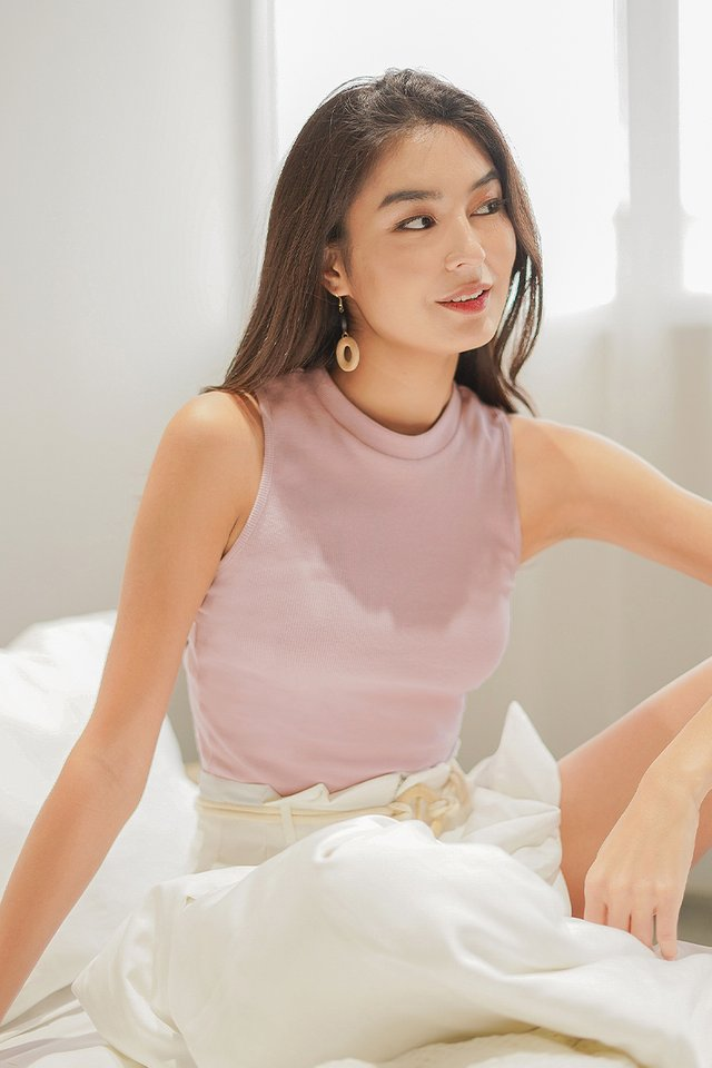 KEIRA BASIC HIGH CUT RIBBED TOP #MADEBYLOVET (DUSTY PINK)
