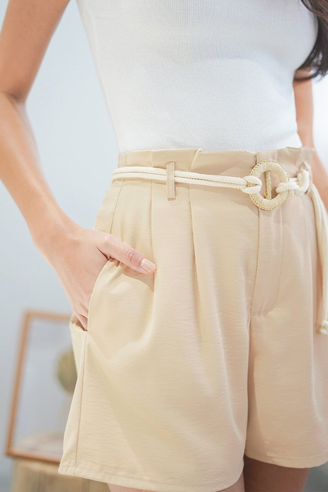 ZOEVE HIGH WAIST SHORTS WITH ROPE STRING #MADEBYLOVET (SAND) *RESTOCKED*