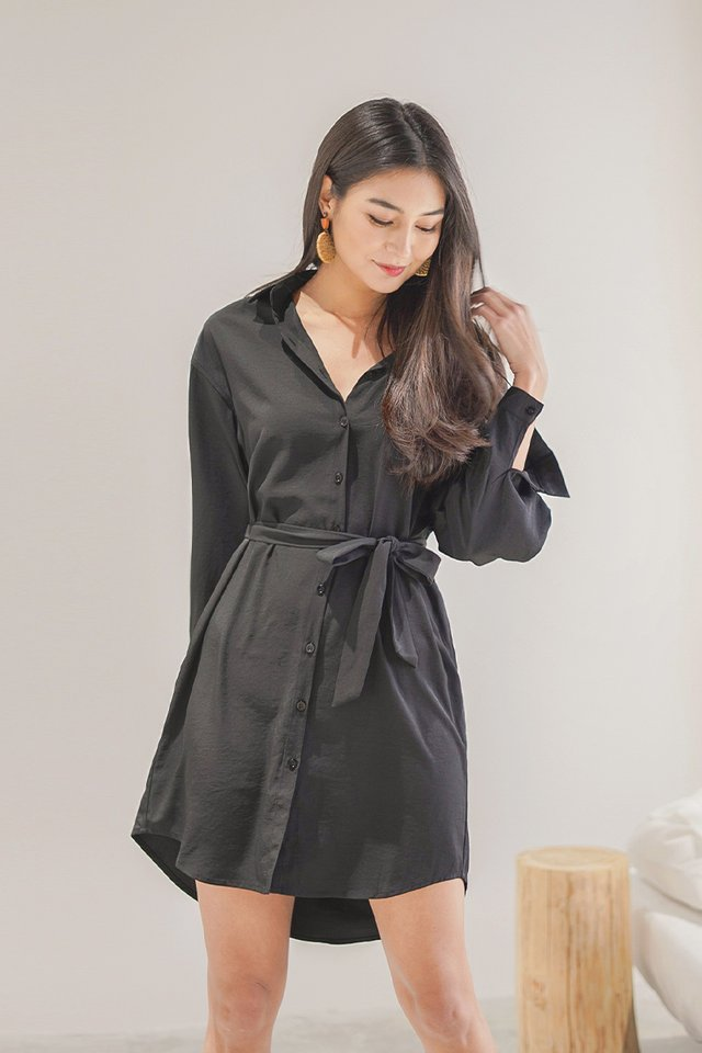 AVRIL BOYFRIEND SHIRT DRESS #MADEBYLOVET (BLACK)