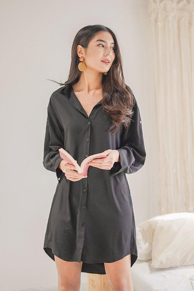 AVRIL BOYFRIEND SHIRT DRESS #MADEBYLOVET (BLACK)