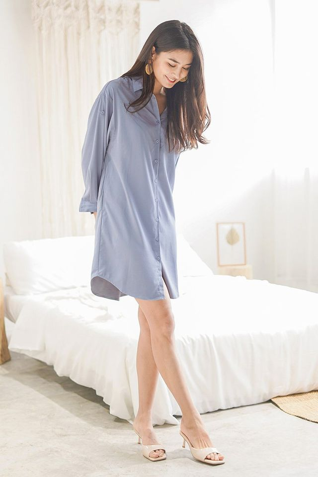 AVRIL BOYFRIEND SHIRT DRESS #MADEBYLOVET (GLACIER BLUE) *RESTOCKED*