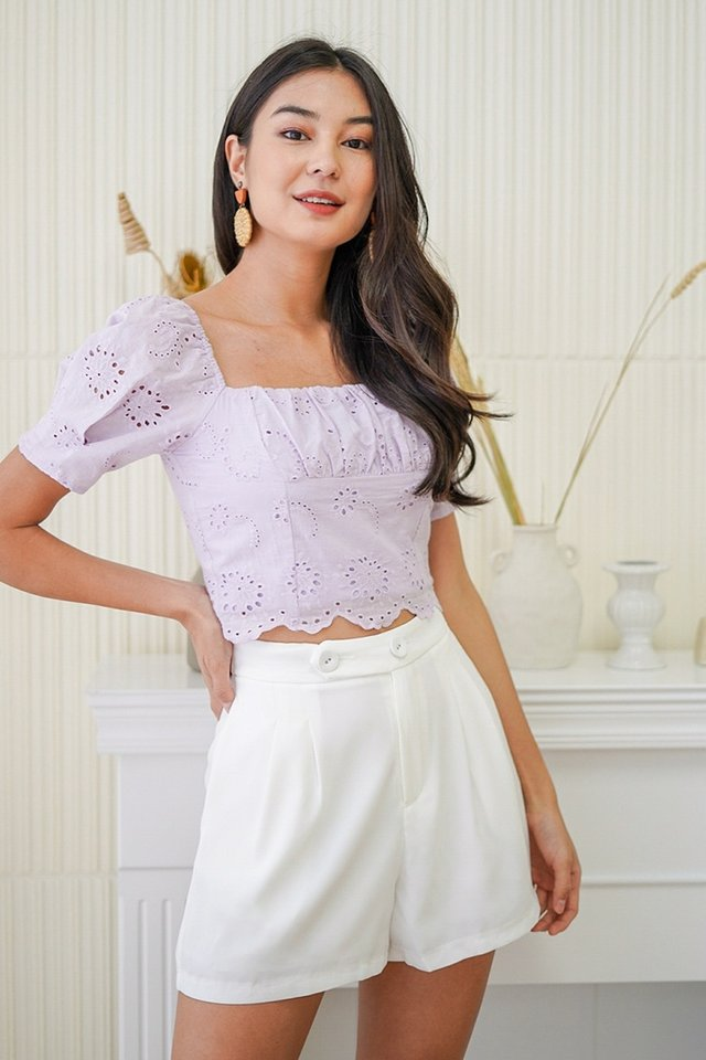CARIE EYELET RUCH SCALLOP CROP TOP #MADEBYLOVET (LILAC) *BACKORDER*