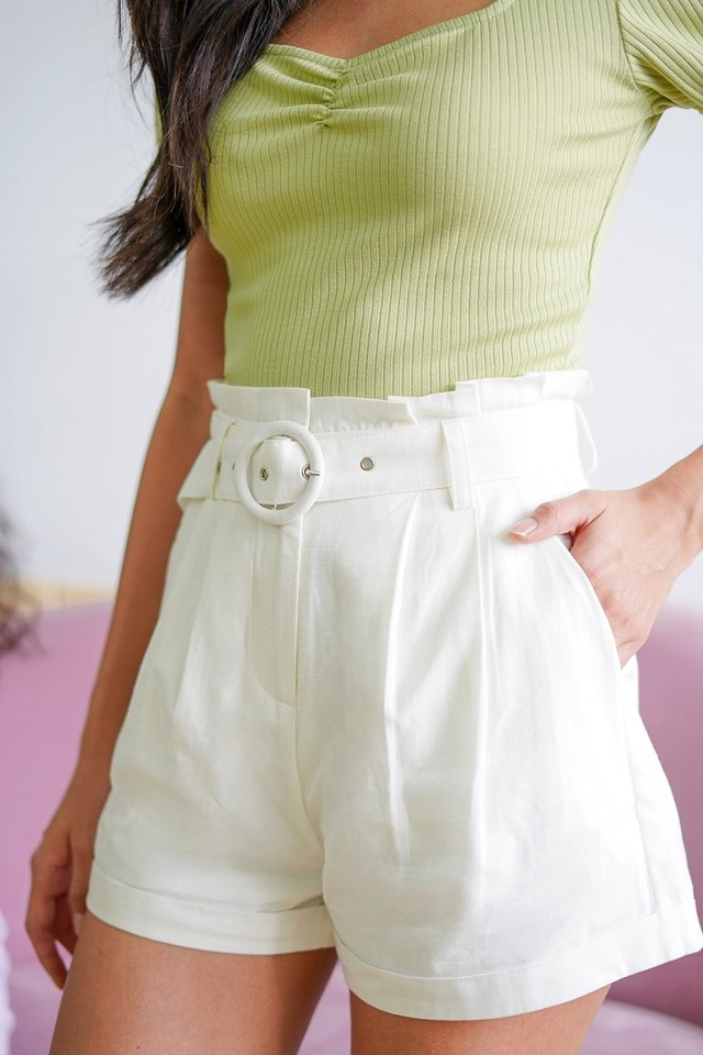 RICO HIGH WAIST PAPERBAG SHORTS WITH BELT #MADEBYLOVET (WHITE)