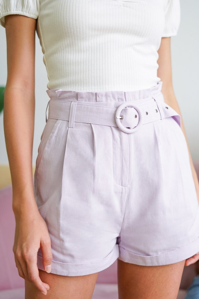 RICO HIGH WAIST PAPERBAG SHORTS WITH BELT #MADEBYLOVET (LILAC)