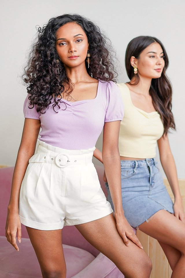 CLEO SWEETHEART SLEEVE RIBBED TOP #MADEBYLOVET (LILAC)