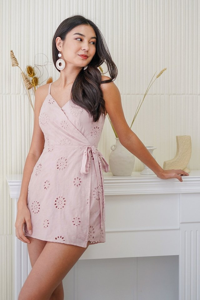 ELYSSA EYELET WRAP ROMPER DRESS #MADEBYLOVET (DUSTY PINK)