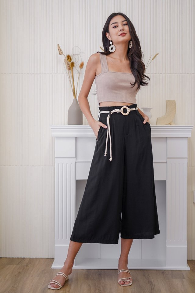 ZOEL HIGH WAIST PALAZZO PANTS WITH ROPE STRING #MADEBYLOVET (BLACK)