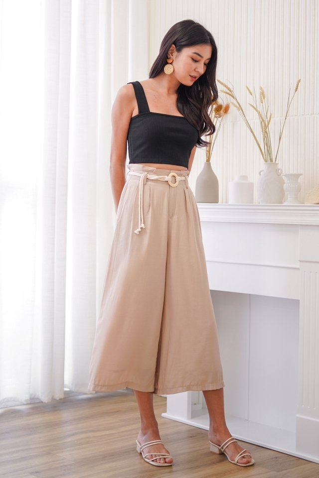 ZOEL HIGH WAIST PALAZZO PANTS WITH ROPE STRING #MADEBYLOVET (SAND)