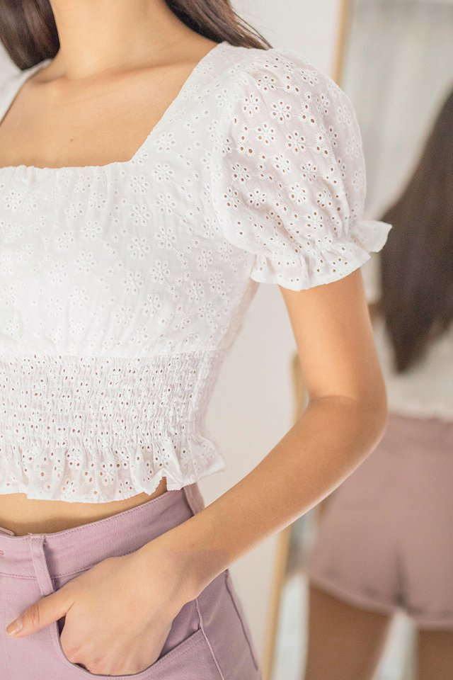 KYLISE EYELET SMOCKED TOP #MADEBYLOVET (WHITE)