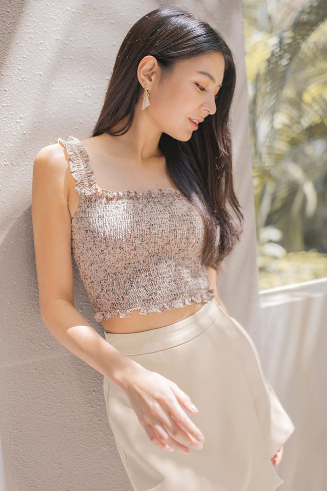 AMELLE FLORAL SMOCKED CROP TOP #MADEBYLOVET (DUSTY MAUVE)