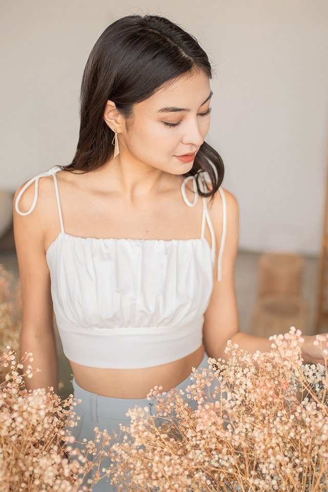 LEZANN TIE STRING RUCHED CROP TOP #MADEBYLOVET (WHITE)