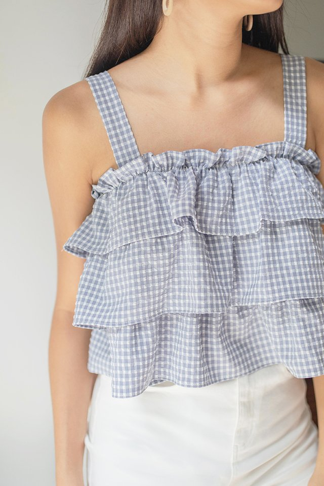 NOELLE GINGHAM TIERED TOP #MADEBYLOVET (WILLOW BLUE)