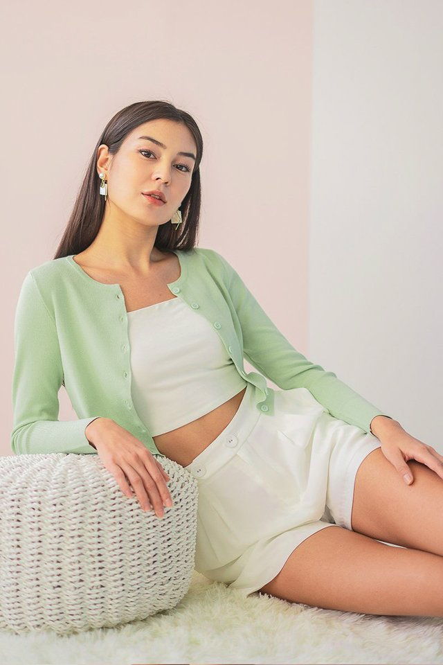 ESTELLA KNITTED BUTTON CARDIGAN #MADEBYLOVET (AVOCADO GREEN)