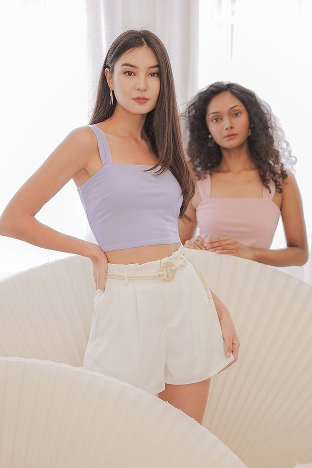 DARLENE RUCHED STRAP CROP TOP #MADEBYLOVET (LILAC)