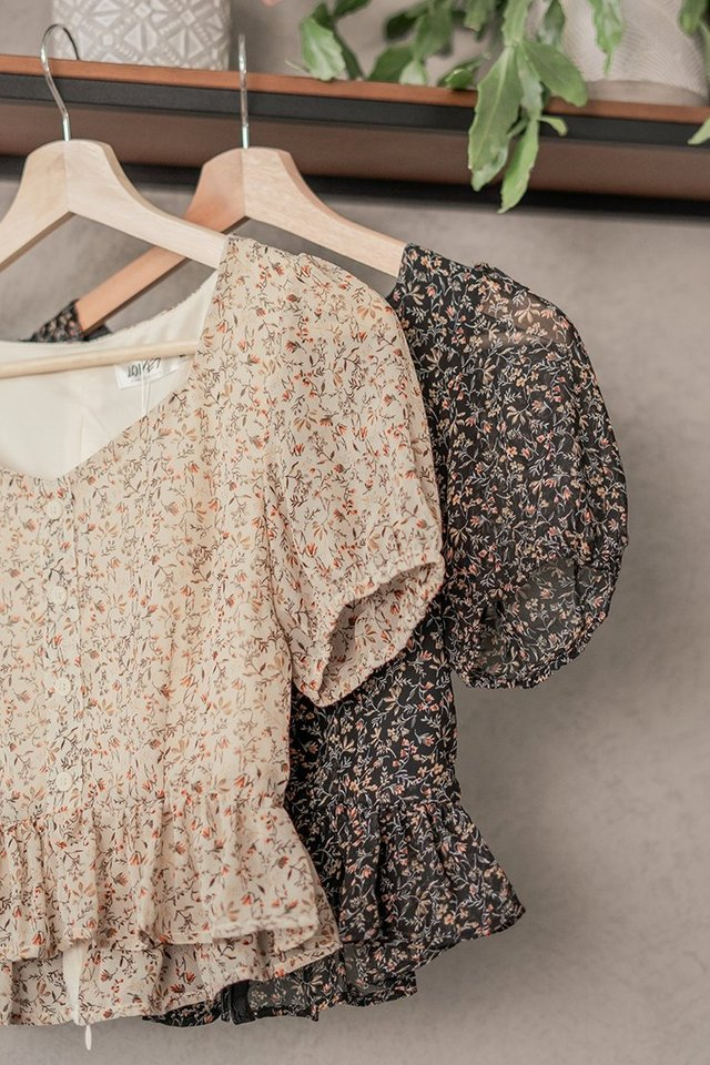 EDEN SWEETHEART FLORAL BUTTON TOP #MADEBYLOVET (CREAM)