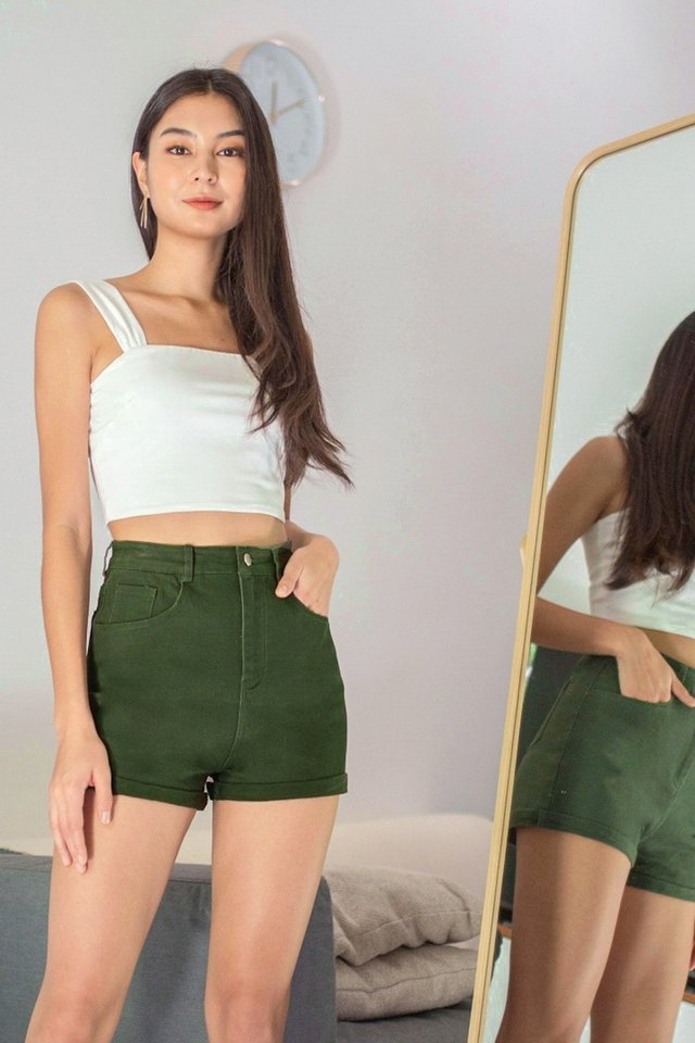 ATLAS HIGH WAIST CUFFED DENIM SHORTS #MADEBYLOVET (OLIVE)