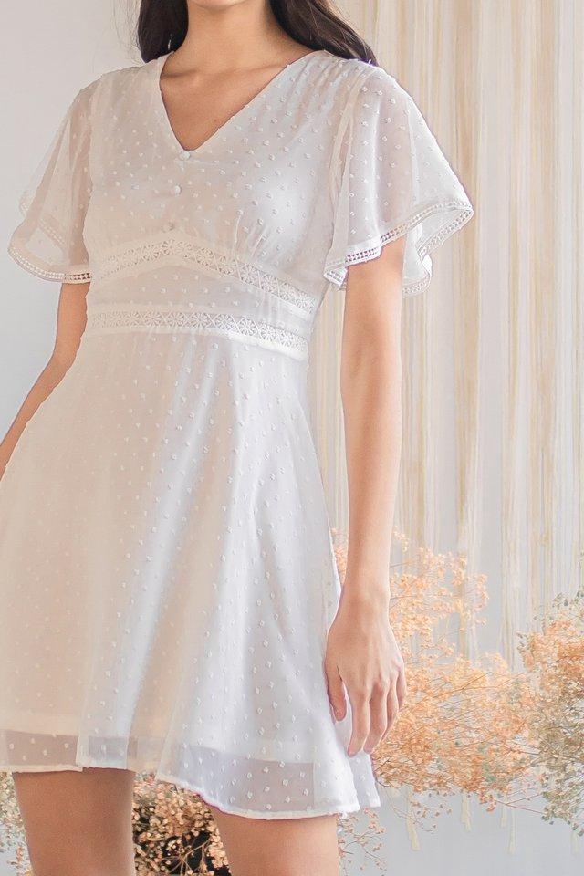 CHERLYN SWISS DOT FLUTTER SLEEVE DRESS #MADEBYLOVET (WHITE)