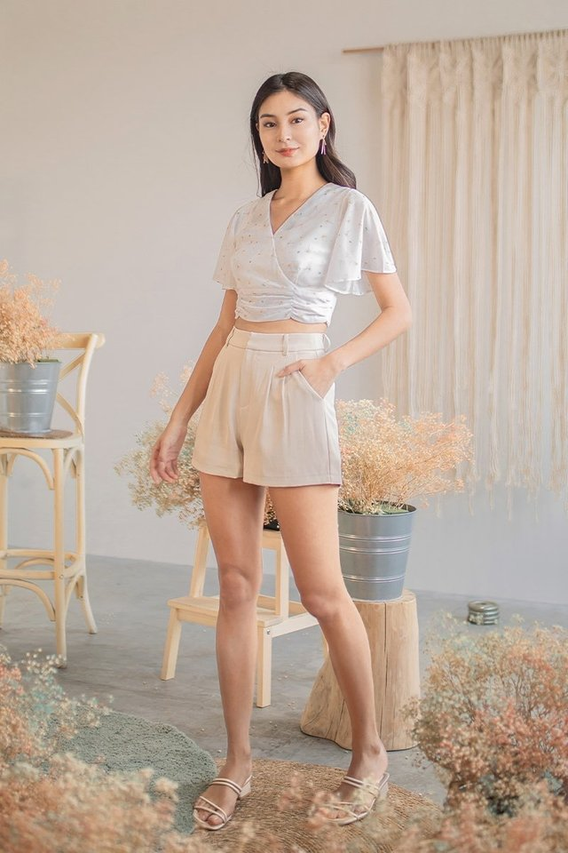 BEV PLEATED HIGH WAIST SHORTS #MADEBYLOVET (SAND)
