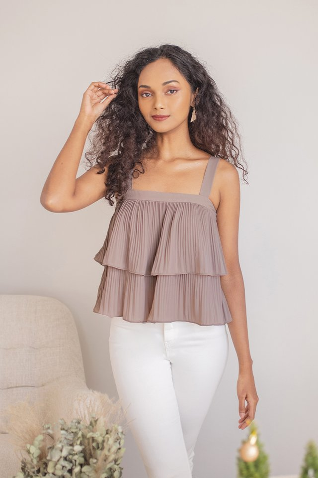 CLAIRYSE TIERED PLEATED TOP #MADEBYLOVET (TAUPE)