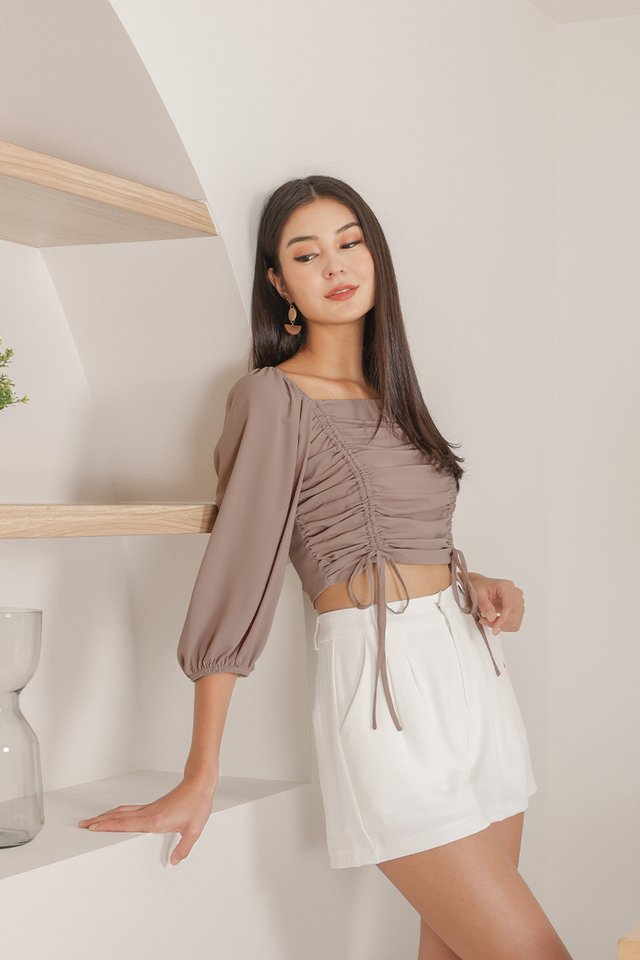 ASTRID 2-WAY SCRUNCH CROP TOP #MADEBYLOVET (TAUPE) *BACKORDER*