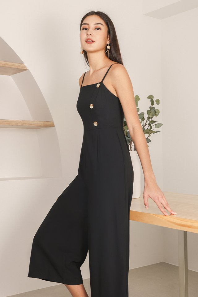 LYNETTE BUTTON JUMPSUIT #MADEBYLOVET (BLACK)